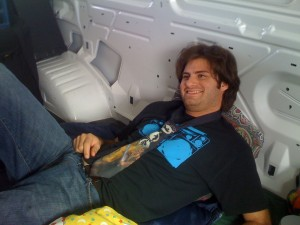 Ryan in the new rental van. Where did that Obi Wan tie come from?