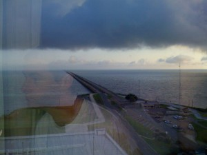 Charlie reflects the causeway over Lake Pontchartrain, the longest bridge in the world