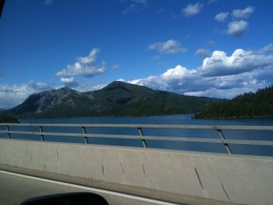 Shasta Lake from the window of the van